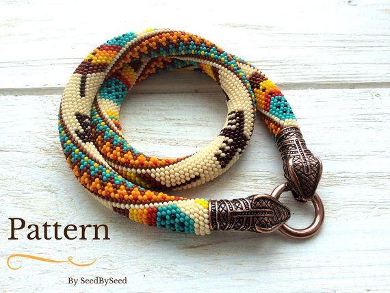 Bead Crochet Pattern Aztec Native American Feathers Eagle Seed Bead