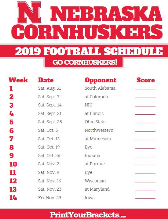 Husker Schedule 2019 2019 Nebraska Cornhuskers Football Schedule | Printable College