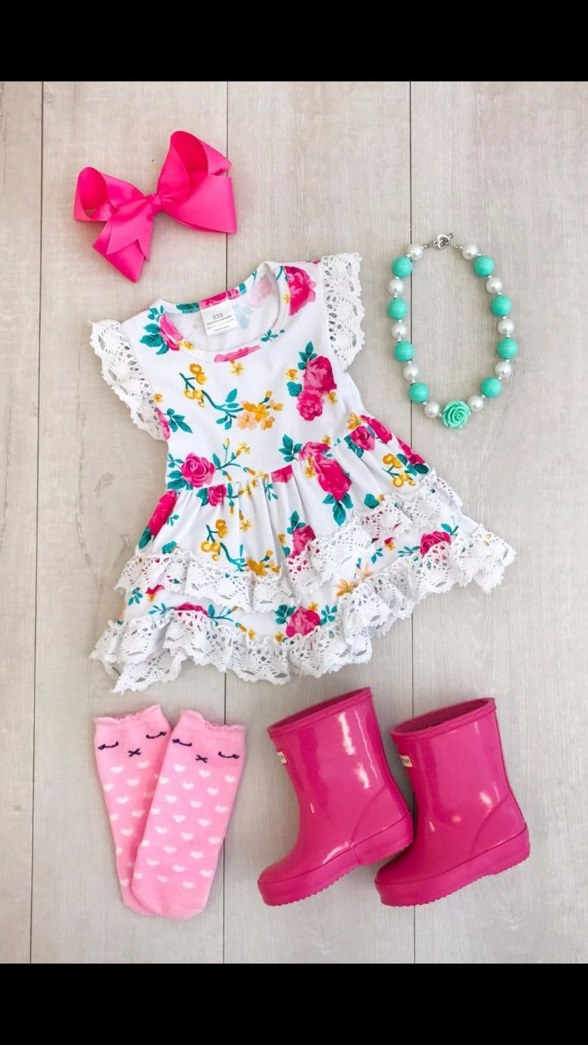3d786ca000b summer cotton design baby girls kids boutique clothes dress sets stiped  floral ruffles with matching accessories necklace   bow