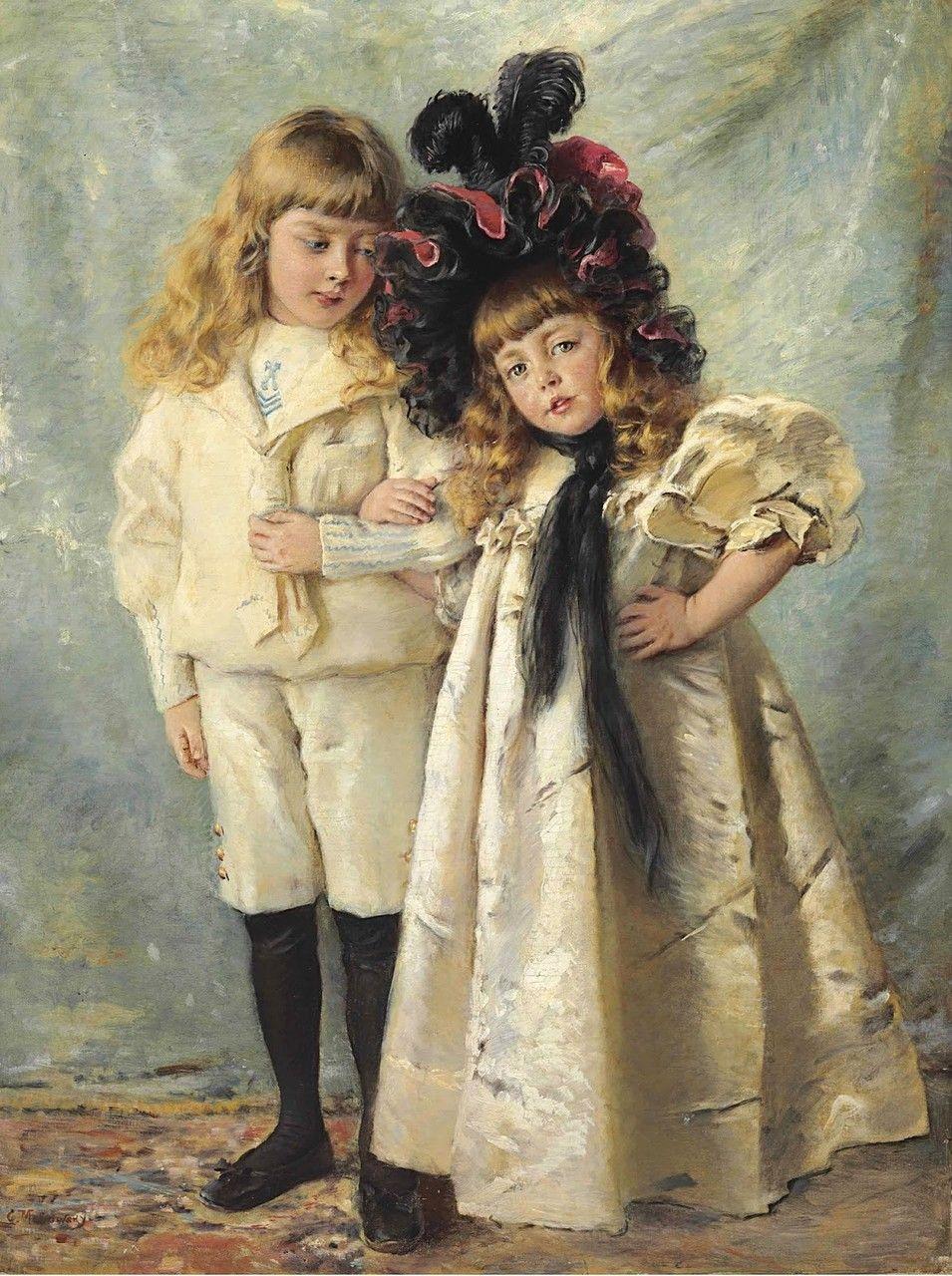 Константин Егорович Маковский (1839-1915).Портрет детей художника, Константина и Ольги.