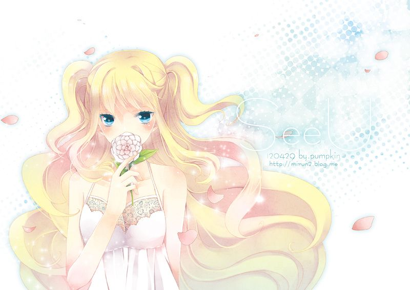 Safebooru Artist Name Bare Shoulders Blonde Hair Blue Eyes Character Name Dated Flower Hobak Long Hair Looking At Viewer Petals S Anime Anime Images Vocaloid