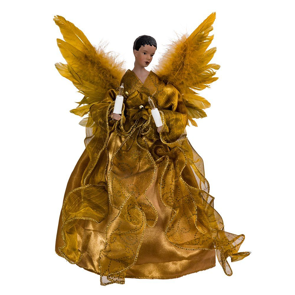 Kurt Adler Ul 10light African American Angel Christmas Treetop Figurine 13inch Gold Click Pict Christmas Angels African American Angel Christmas Tree Topper