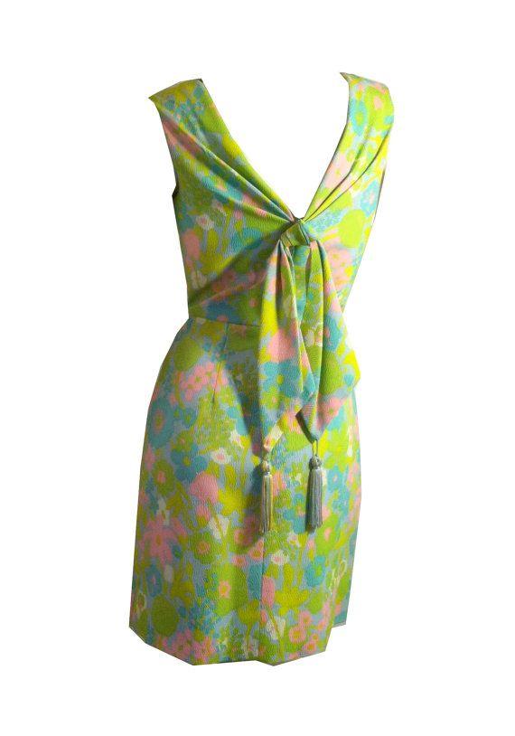 SALE vintage Electric Hued Floral Print V Back Dress 1960s 32 bust