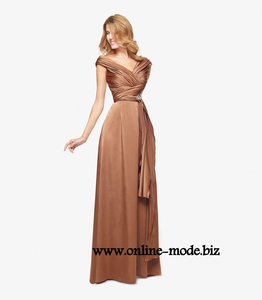 Klassisches V Dekollette Abendkleid in Braun  Abendkleid, Kleider