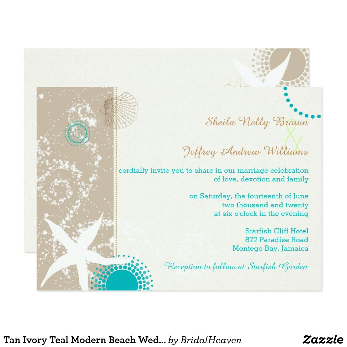 Tan Ivory Teal Modern Beach Wedding Card Simple & modern ...