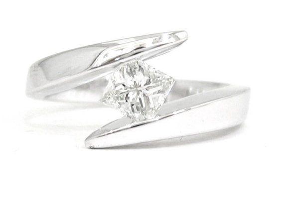 14k white gold princess cut diamond engagement ring tension set 0.75ct on Etsy, $2,275.00