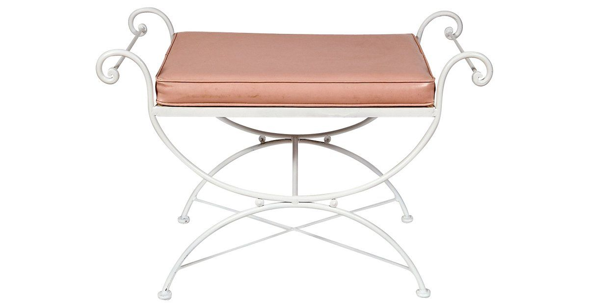 "1960s white metal and pink vinyl seat bench for either vanity or outdoor use. Seat: 19""H."