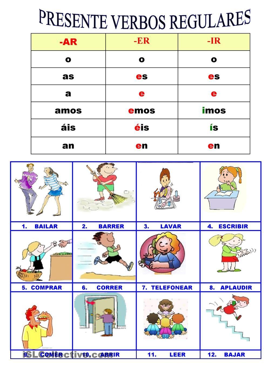 Presente Verbos Regulares Español De Escuela Primaria Verbos En Espanol Planes De Lecciones De Español