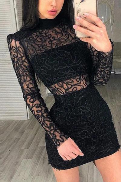 Schwarzer Spitze Rollkragen Durchsichtig Figurbetonteskleid Mislish Kleid Engeskleid Partykleid Figurbetontes Kleid Kleider Damenkleider