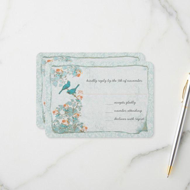 Elegant Turquoise Coral Birds Damask Wedding RSVP | Zazzle.com #turquoisecoralweddings