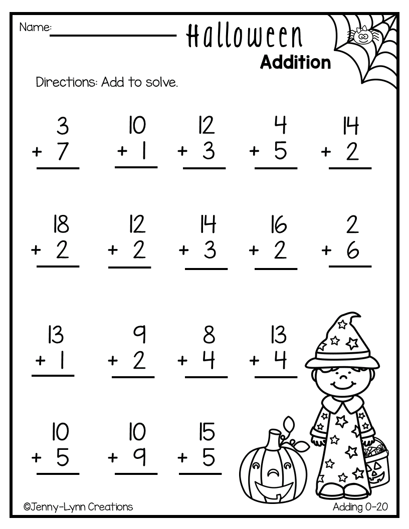 This Fun Halloween Addition Packet Will Have Your Students Enjoying Math It Contains A Var Kids Math Worksheets Kindergarten Math Games Special Education Math [ 1056 x 816 Pixel ]