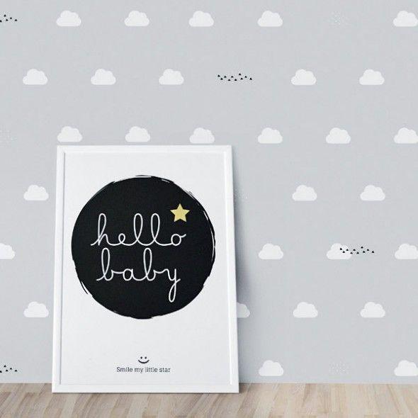 Papel pintado nubes gris pared papel pintado papel pintado bebe y papel pintado dormitorio - Papel pared gris ...