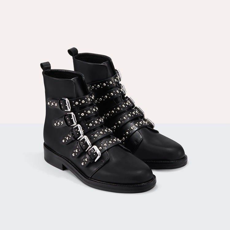 Bottines MAJE modèle Fortune en cuir et studs | Bottines en cuir