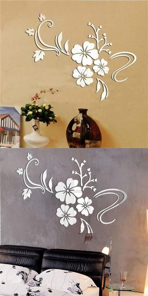 Free shipping background wall mirror bling three dimensional wall stickers hibiscus flowers