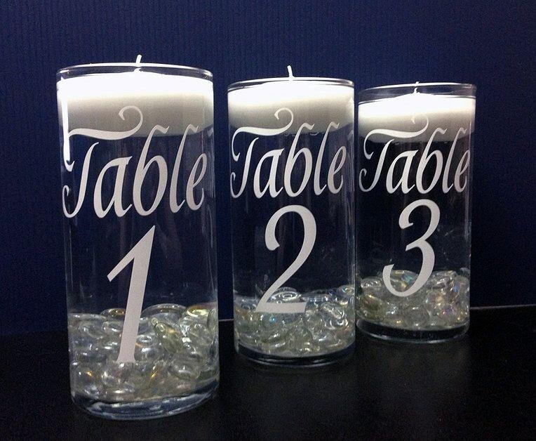 DIY vinyl table numbers,  Choose Color of Vinyl Graphic, Wedding Decor, Wedding Decorations, Wedding table Numbers, Wedding Vase, Wedding by VinylDecalShoppe on Etsy https://www.etsy.com/listing/223113909/diy-vinyl-table-numbers-choose-color-of