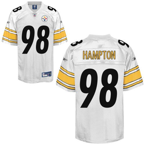 a2303c318 Reebok Pittsburgh Steelers Casey Hampton 98 White Authentic Jerseys Sale