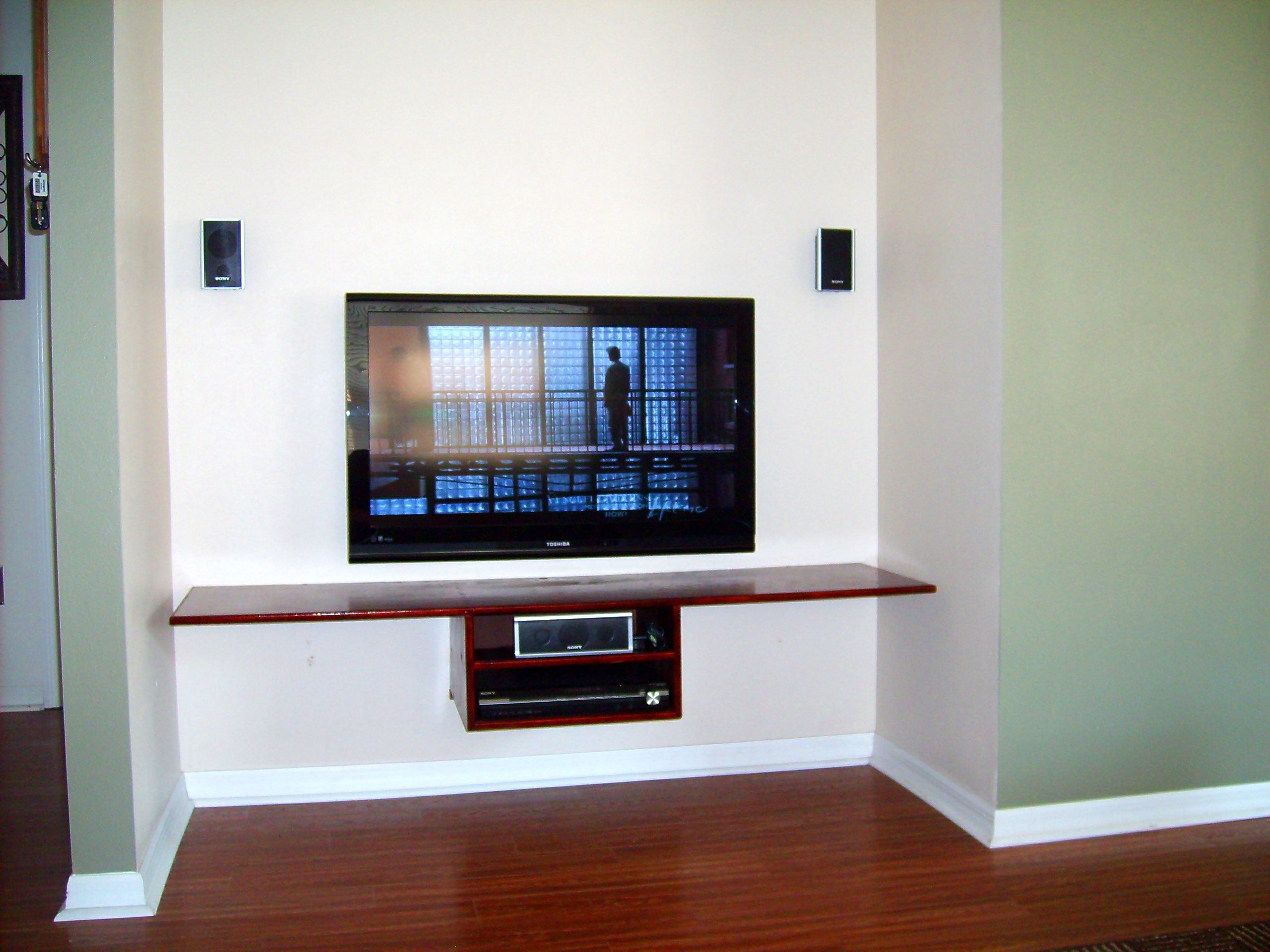 floating shelf under tv in bonus room things for money. Black Bedroom Furniture Sets. Home Design Ideas