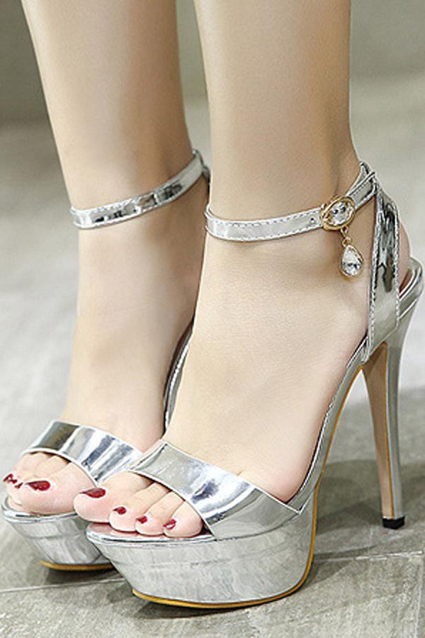 Silver Open Toe Pendant Decor Ankle