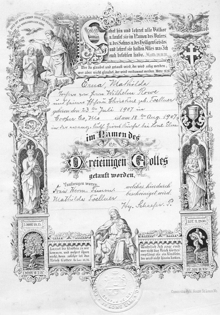 1907 baptism certificate, in German, for Erna Rowe from the Lone - baptism certificate