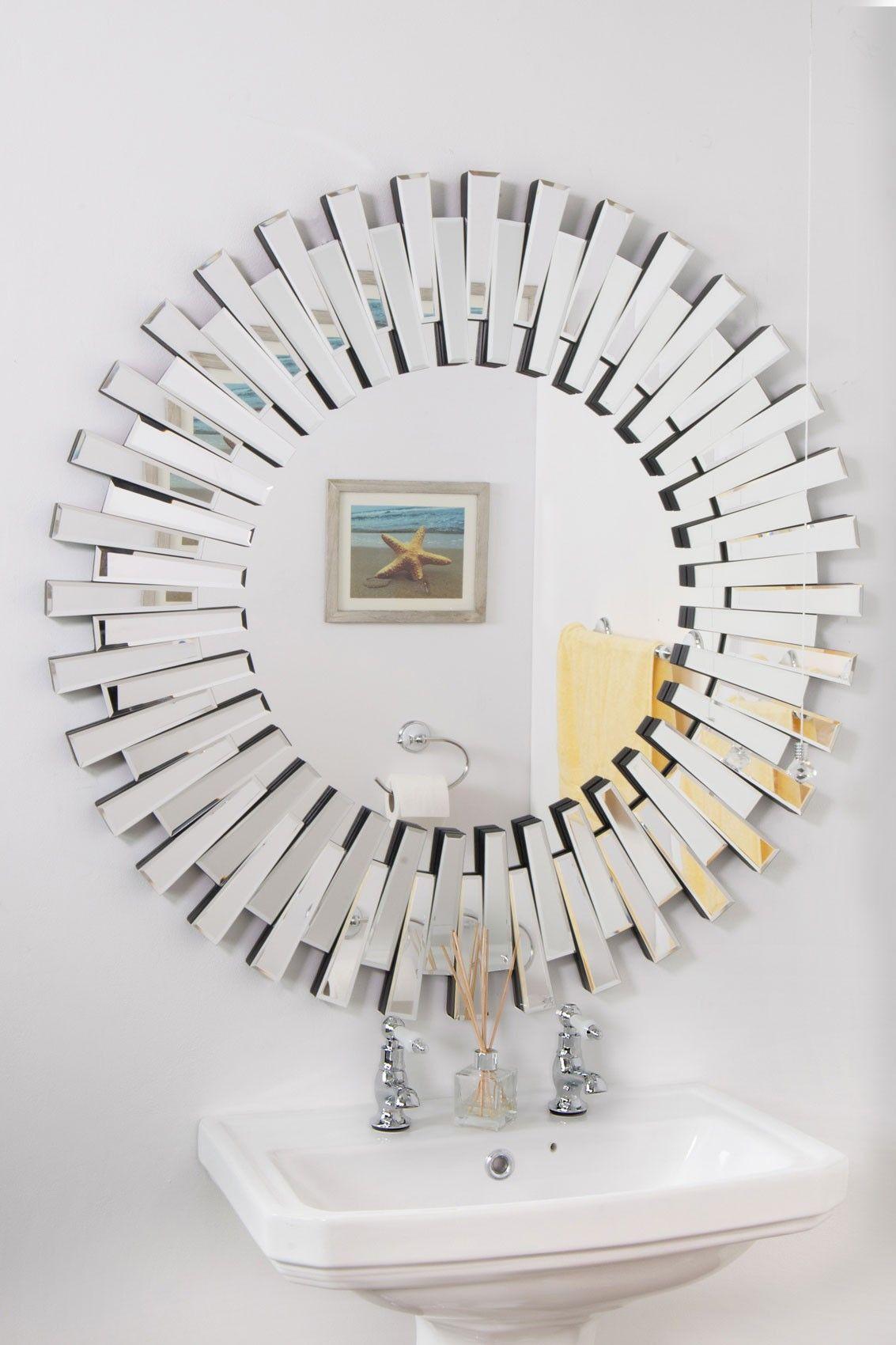 Sunburst Funky Round Mirror 91x91cm In 2020 Sunburst Mirror Mirror Round Wall Mirror