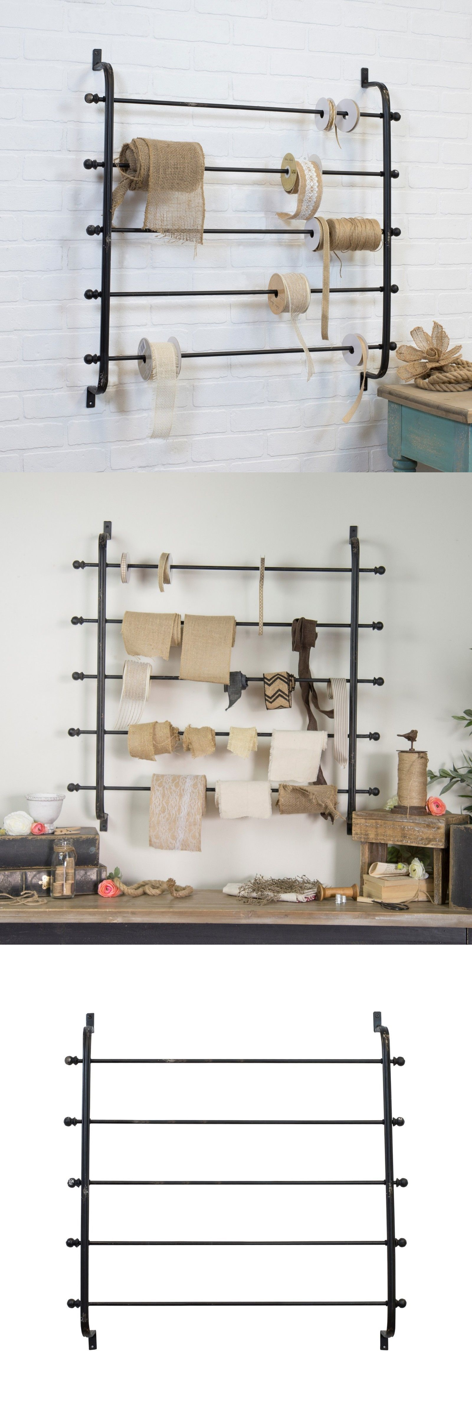 Craft And Paper Racks 146402 Metal Ribbon Rack 5 Tier Distressed Black Wall Mounted Wrapping Paper Holder Buy Wrapping Paper Holder Sewing Room Black Walls
