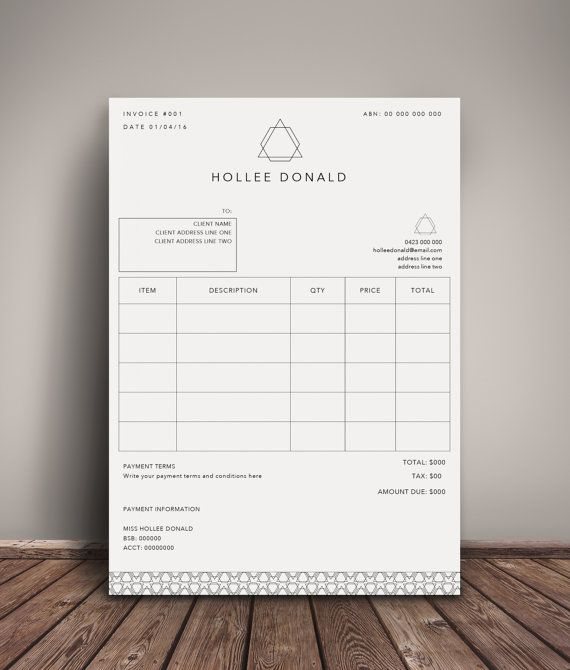 Invoice Template Receipt Template Invoice Instant Download - create a receipt in word