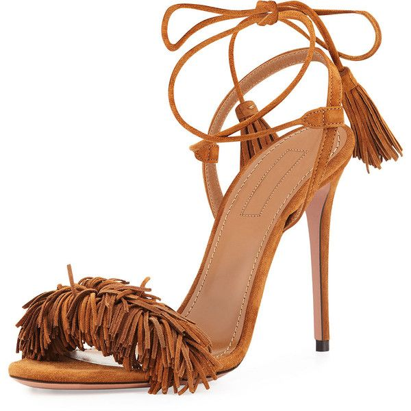 ddb0743ef4e3 Aquazzura Wild Thing Suede 105mm Sandal (€740) ❤ liked on Polyvore  featuring shoes