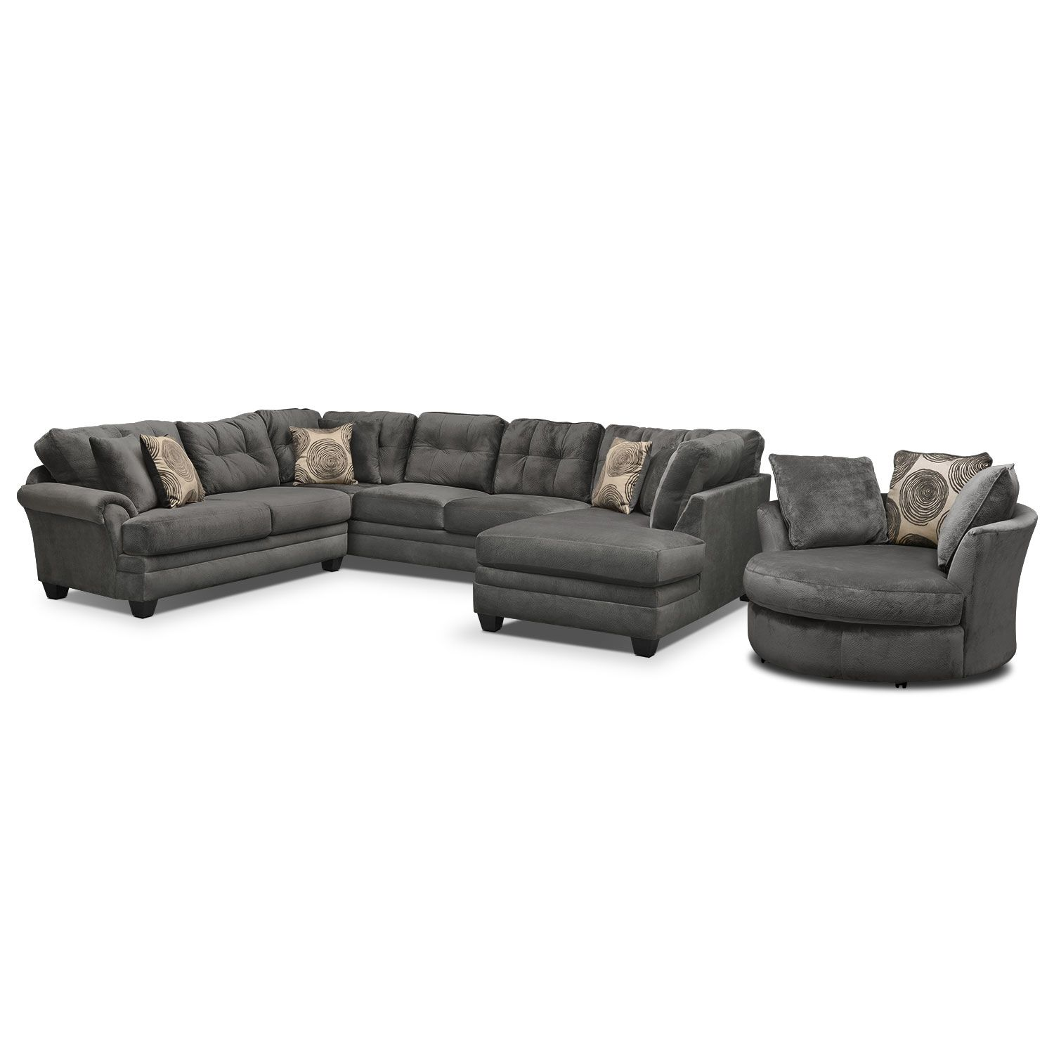 Living Room Furniture - Cordelle 3-Piece Sectional and Swivel Chair ...