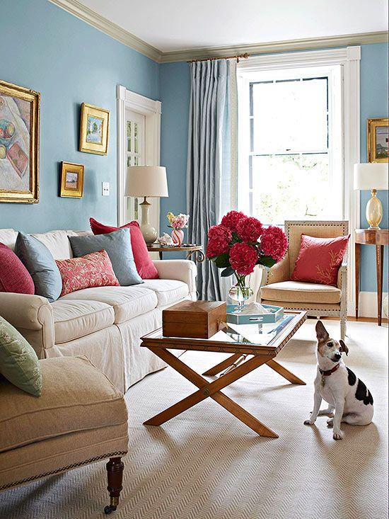 Color Combos Using Blue Feminine Living Room Condo Decorating