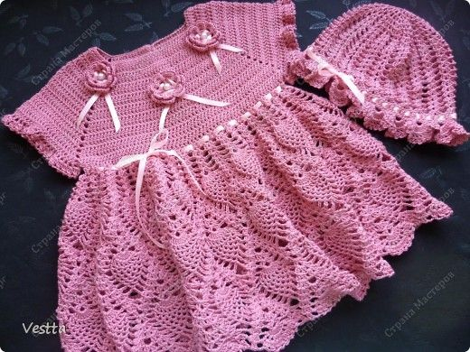 Вязание платья на девочку 1 года крючком