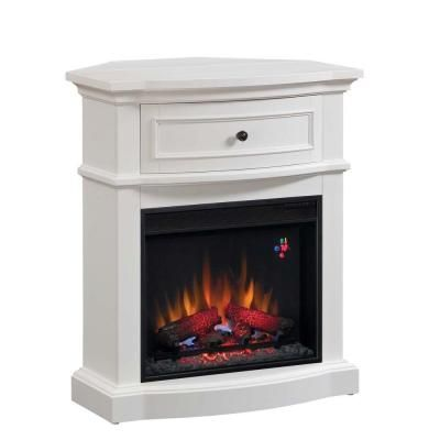 Classic Flame 32 In Dual Media Mantel Infrared Electric Fireplace In White 80649 The Home Depot White Electric Fireplace Electric Fireplace White Corner Electric Fireplace