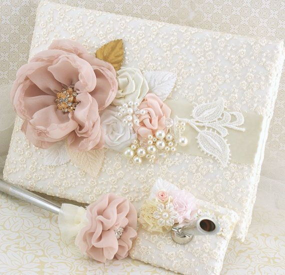Lace Guest Book Blush White Gold Ivory Vintage Wedding Gatsby Style Sign In Signature Pen Pearls