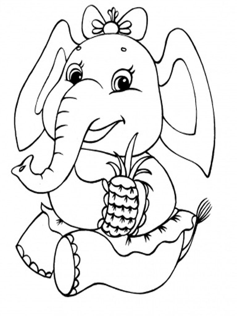 Elephants Coloring Pages Realistic Elephant Coloring Page