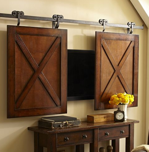 Rolling Cabinet Door Wall Mount Flatscreen TV Media Storage, Rustic  Mahogany Finish Love This Idea For The Living Room!