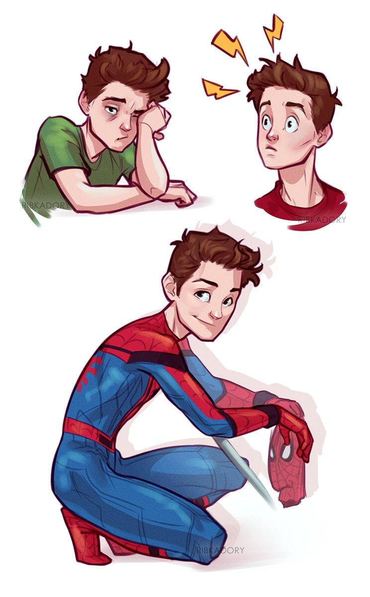 Adorable Peter Parker / Spidey art by @rebkadory on Tumblr