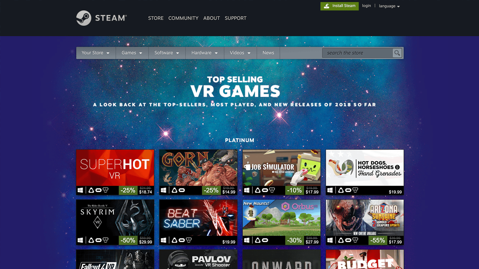 Steam Releases Their Best Selling VR Games of 2018 Vr