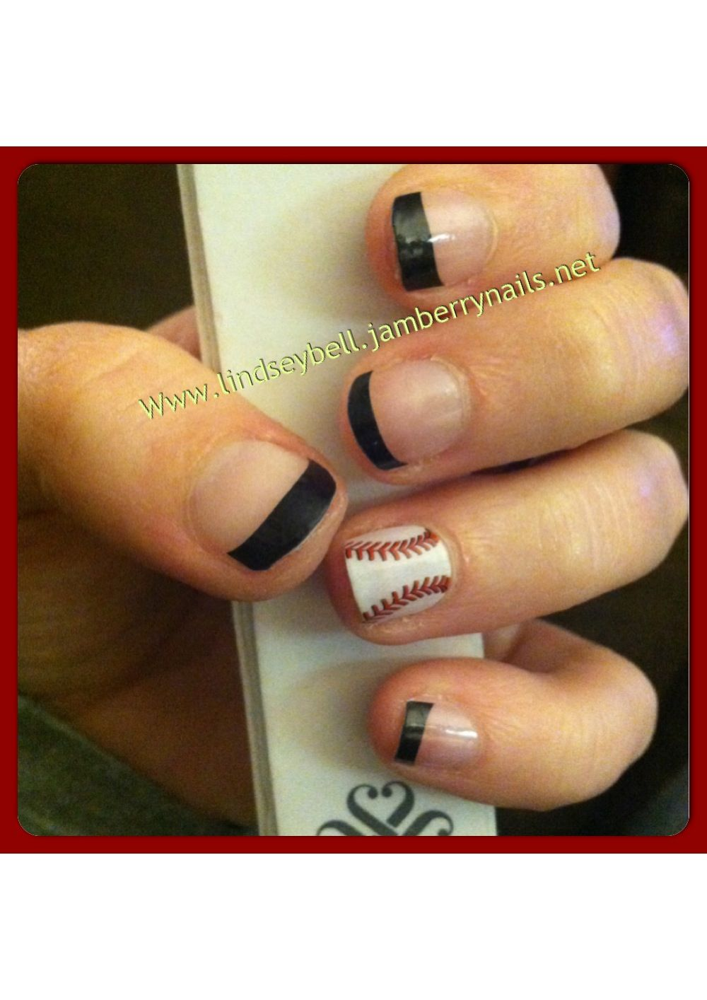 Black French tips & Curve Ball! Www.lindseybell.jamberrynails.net