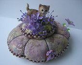Lavender Cat Pincushion