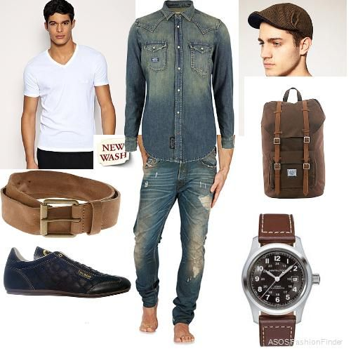 Love the combination of brown and denim on men