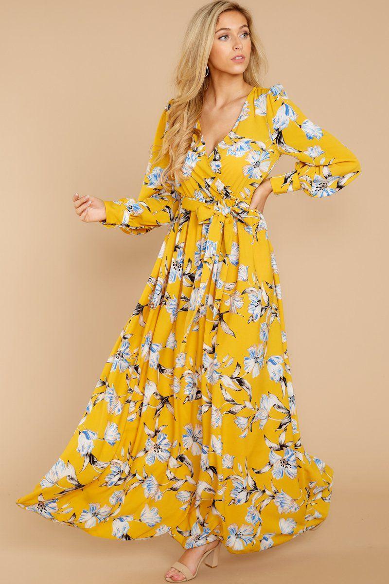40ee80d6c85e Lovely Yellow Floral Maxi Dress - Floral Print Wrap Dress - Maxi - $48 –  Red Dress Boutique