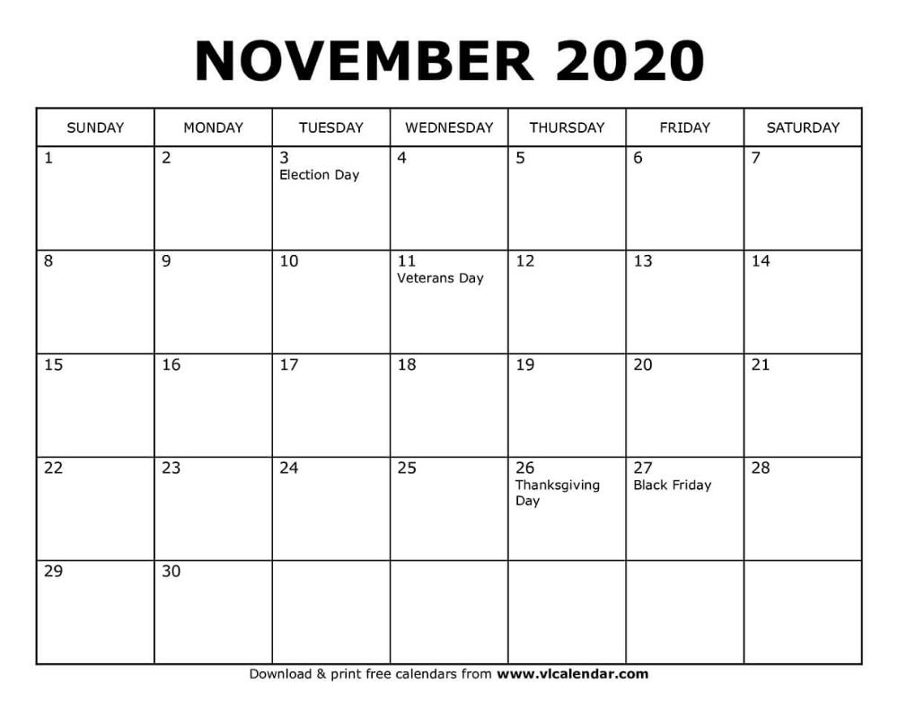 Printable November 2020 Calendar in 2020 November