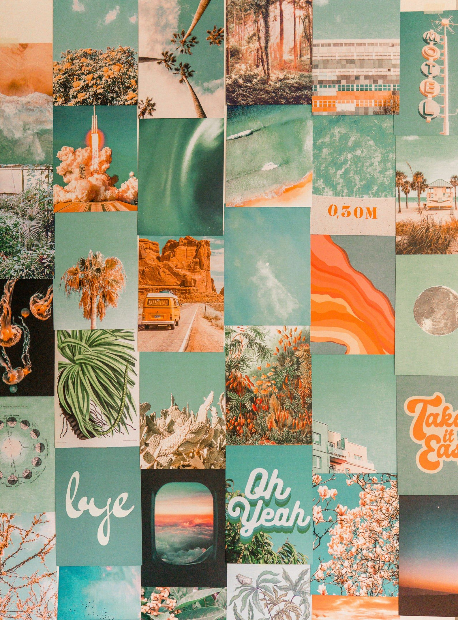 Orange And Teal In 2020 Wall Collage Decor Photo Wall Collage Wall Collage