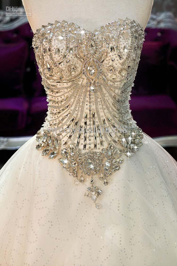 Wedding dress train bustle  Bling Bling Crystals luxury Sweetheart Lace Applique cathedral train