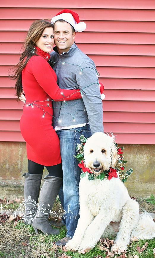 Couple With Dogs Christmas Picture