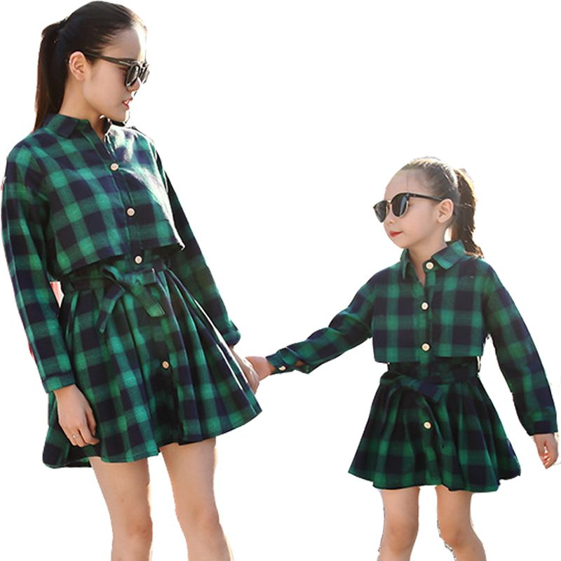 5d3680464f9d Mother Daughter Dresses Fashion Long Sleeve Plaid Family Look ...