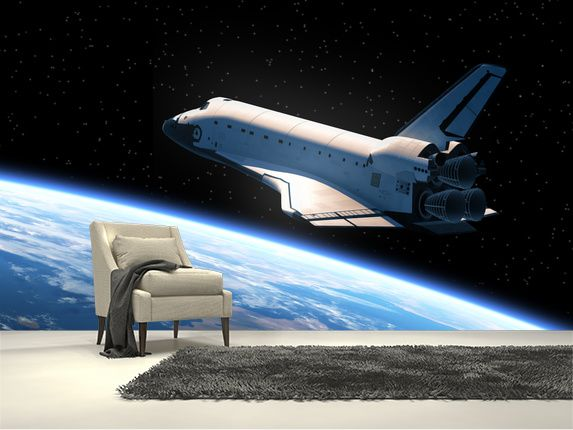 Space Shuttle Orbiting Earth Wall Mural Room Setting Awesome Design