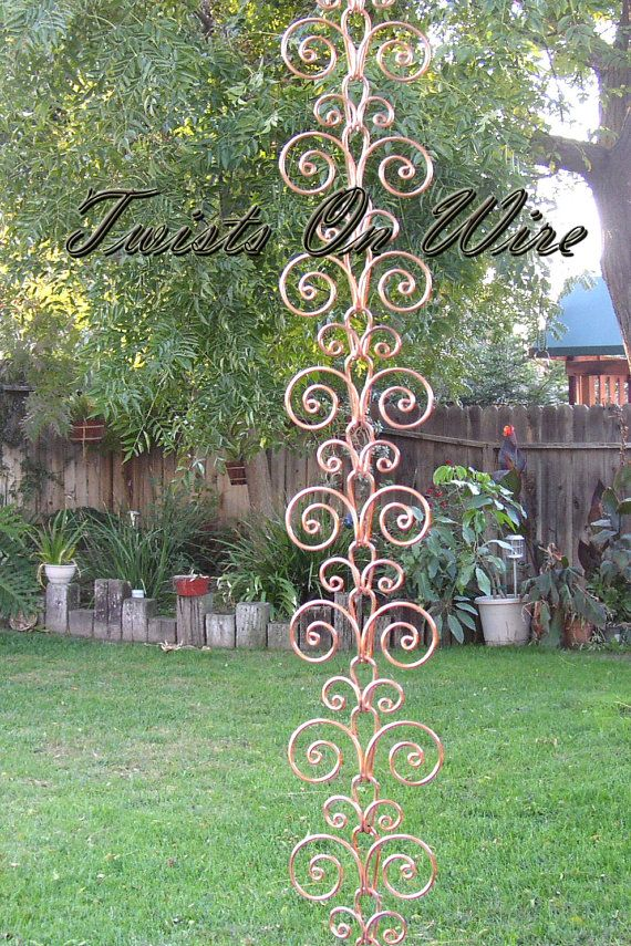 Handcrafted Solid Copper Swirl Rain Chain / Kusari Doi Water Feature Garden  Decor Now You Can