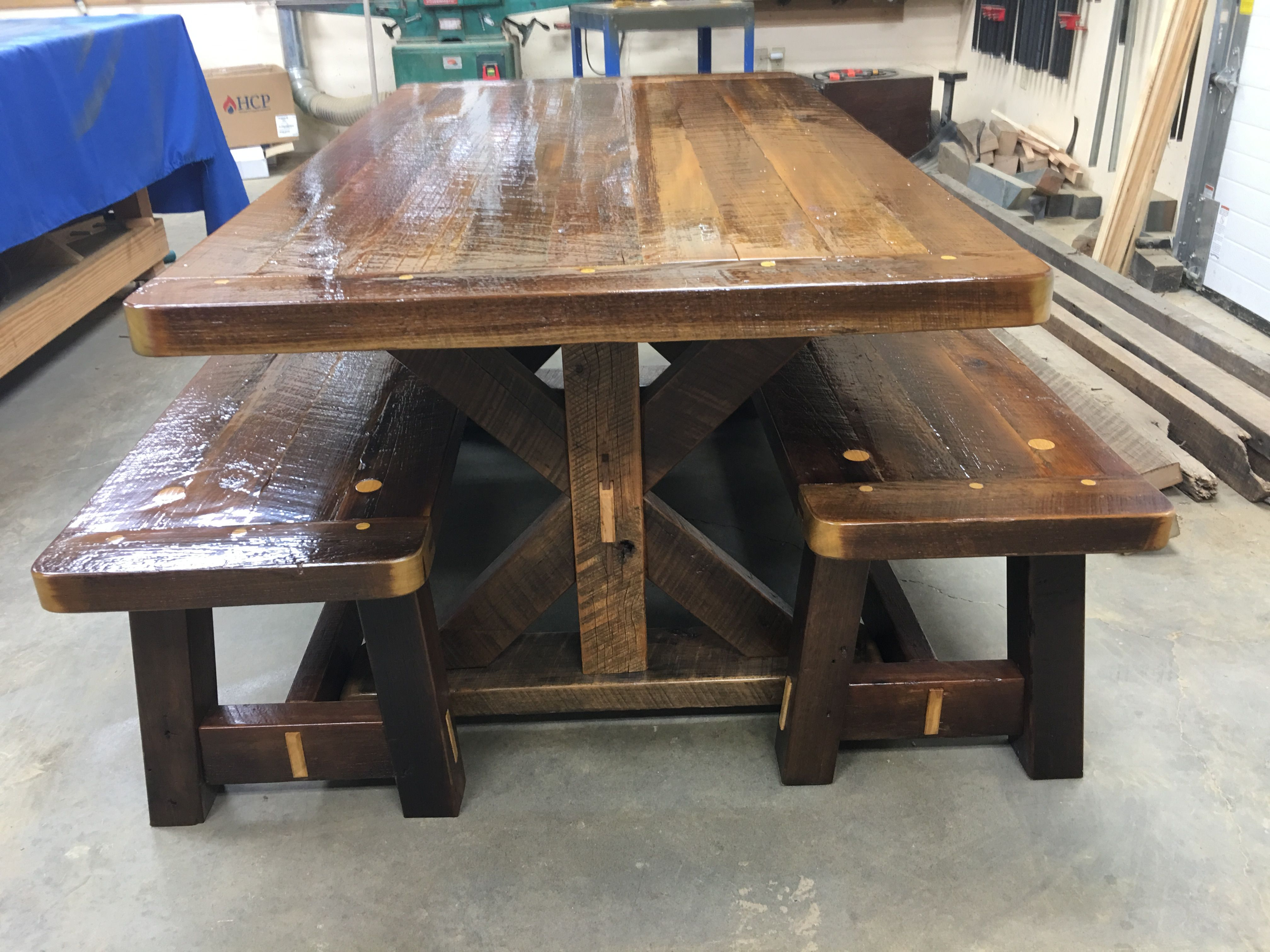 Remarkable Barnwood Rafter Table And Benches All Of The Boards Were Ibusinesslaw Wood Chair Design Ideas Ibusinesslaworg
