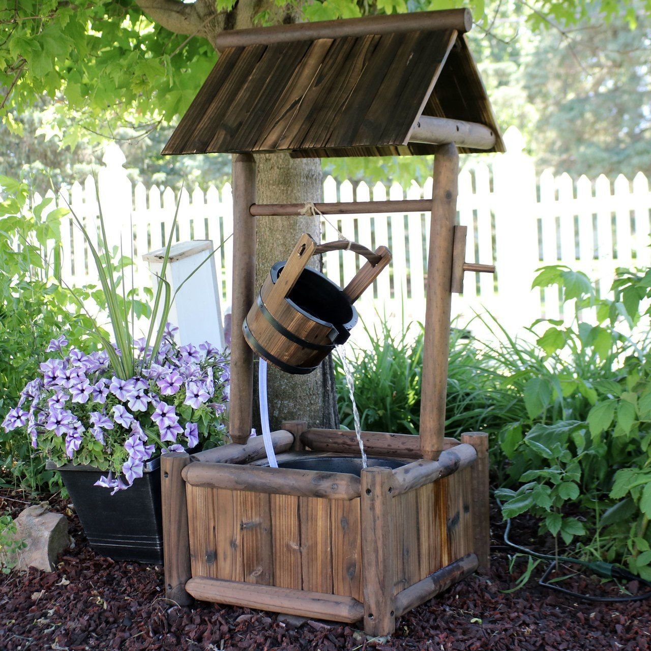 Sunnydaze Rustic Wood Wishing Well Outdoor Fountain with ... on rustic gardening, garden fountains, beautiful backyard fountains, classic backyard fountains, tropical backyard fountains, modern backyard fountains, unique backyard fountains, elegant backyard fountains, large backyard fountains, wood backyard fountains, small backyard fountains, bird baths and fountains,