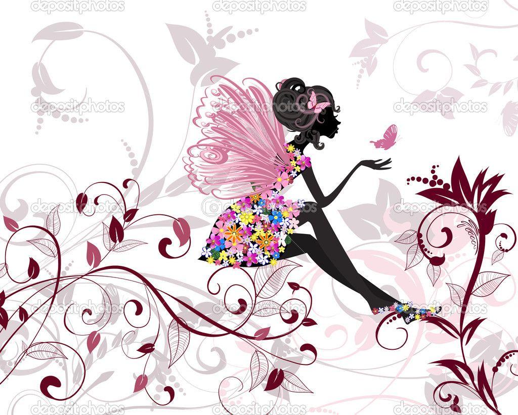 cartoon butterflies and flowers hada de la flor con mariposas ilustraci n de stock dibujos. Black Bedroom Furniture Sets. Home Design Ideas